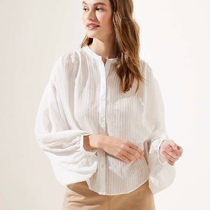 Petite Striped Drop Shoulder Button Down Shirt